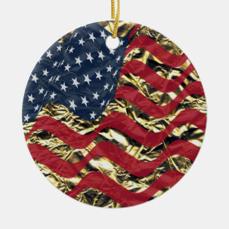 Stars and stripes round ceramic decoration