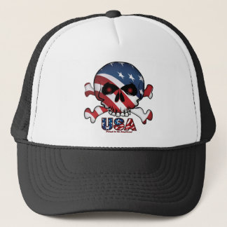 Stars and Stripes Skull Trucker Hat