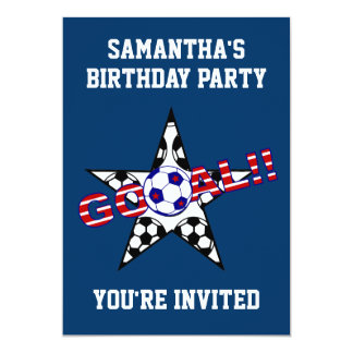 Stars and Stripes Soccer Goal Birthday Party 13 Cm X 18 Cm Invitation Card