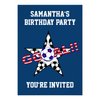Stars and Stripes Soccer Goal Birthday Party Custom Invites