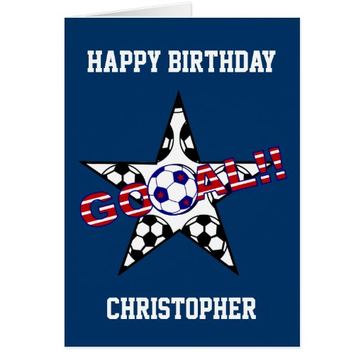 Stars and Stripes Soccer Goal Happy Birthday Greeting Cards