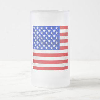 stars and stripes square draped frosted glass mug