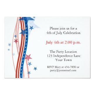 Stars and Stripes Streamers 13 Cm X 18 Cm Invitation Card