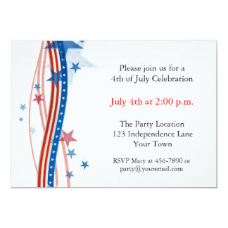 Stars and Stripes Streamers 5x7 Paper Invitation Card