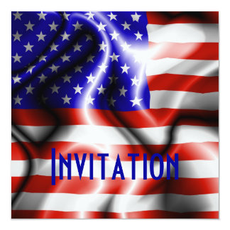 Stars and Stripes USA Flag invitation card