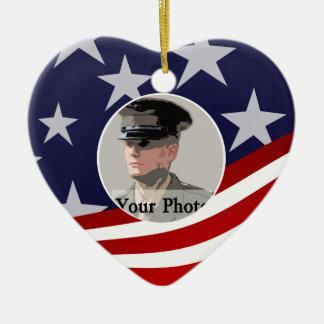 Stars and Stripes USA /  Military Prayer Ceramic Heart Decoration