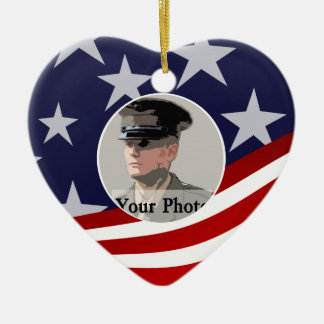 Stars and Stripes USA /  Military Prayer Christmas Ornament