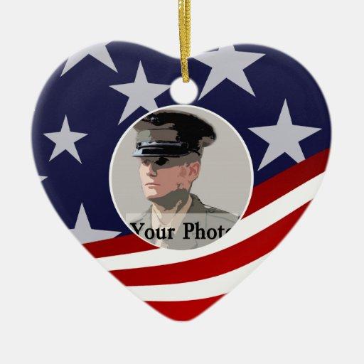 Stars and Stripes USA /  Military Prayer Christmas Tree Ornaments