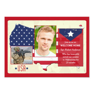 Stars and Stripes USA Photo Patriotic Invites