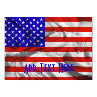 Stars and Stripes Usa Silk Flag Invitation card