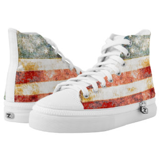 Stars and Stripes - Vintage American Flag Printed Shoes