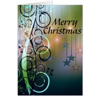 Stars and Swirls Merry Christmas Card