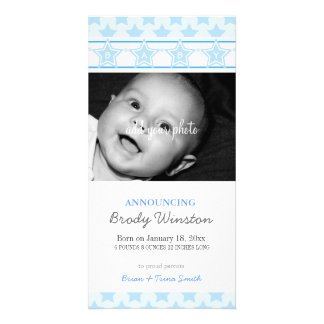 """Stars """"BABY"""" Blue Birth Announcement Customised Photo Card"""