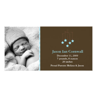 Stars Baby Mobile Birth Announcements Customised Photo Card