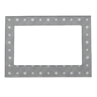Stars background with textile pattern magnetic picture frame