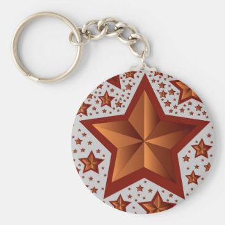 stars basic round button key ring