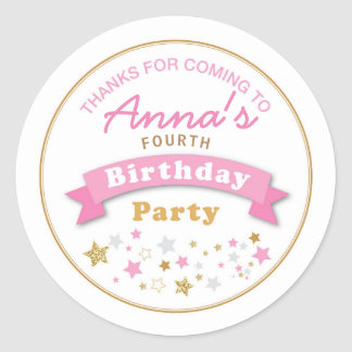 Stars Birthday Party Thank you Sticker