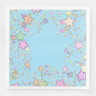 Stars Blue Gender Neutral/Reveal Unisex Party Paper Napkins