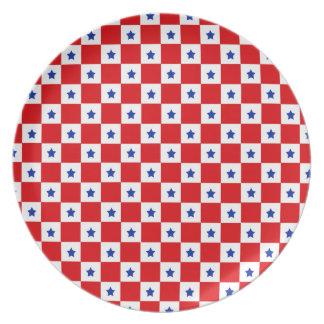 """Stars & Checks"" Red Plate"