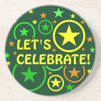 "STARS & CIRCLES coaster - ""Let's celebrate!"""