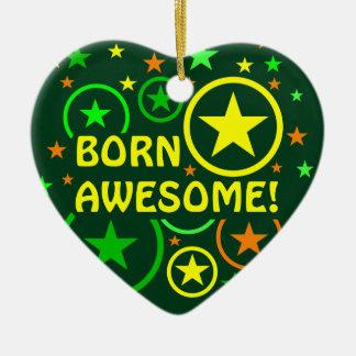 "STARS & CIRCLES ornament - ""born awesome"""