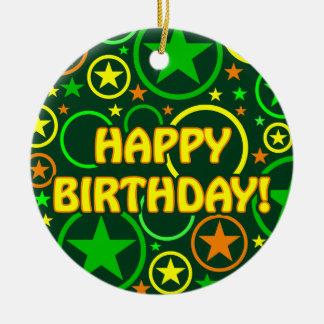 "STARS & CIRCLES ornament - ""Happy Birthday!"""