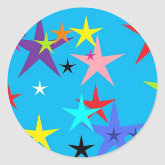 Stars collide classic round sticker
