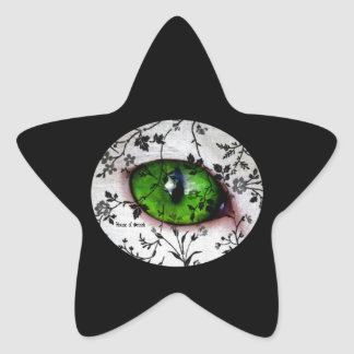 Stars Cute Girly Black/White Floral Eye Of Cat Star Sticker