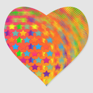 Stars Exploded Heart Stickers