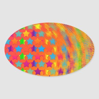 Stars Exploded Oval Stickers