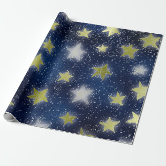Stars Galaxy Sky Navy Blue Night Green Mint Metall Wrapping Paper