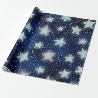 Stars Galaxy Sky Navy Blue Night Mint Tiffany Aqua Wrapping Paper