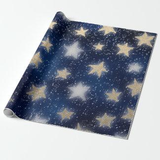 Stars Galaxy Sky Navy Blue Night Sepia Gold Blush Wrapping Paper