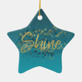 Stars Gold Blue Shine Christmas Ornament