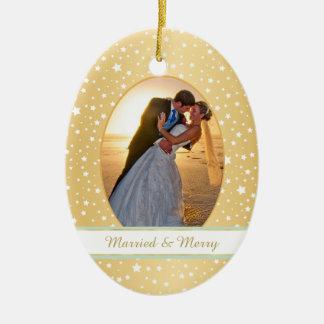 Stars Gold Frame First Christmas Wedding Christmas Ornament