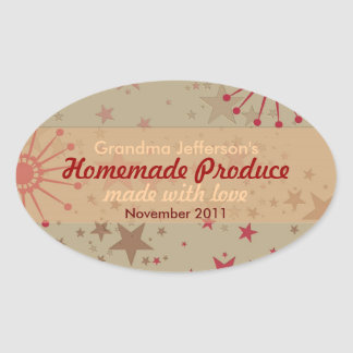 Stars : Homemade with Love Oval Label Sticker