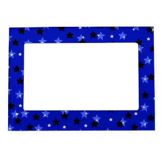 Stars in Black and Blue Magnetic Picture Frame