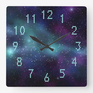 Stars in Space Purple Blue Green Dotted Numbers Wall Clock
