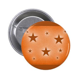 Stars in the Night Sky Button, Orange 6 Cm Round Badge