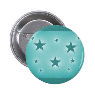 Stars in the Night Sky Button, Teal 6 Cm Round Badge