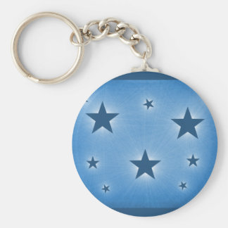 Stars in the Night Sky Keychain, Blue Basic Round Button Key Ring