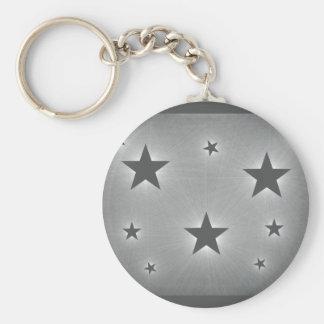 Stars in the Night Sky Keychain, Dark Gray Basic Round Button Key Ring