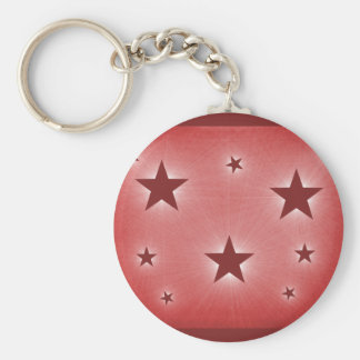 Stars in the Night Sky Keychain, Dark Red Basic Round Button Key Ring