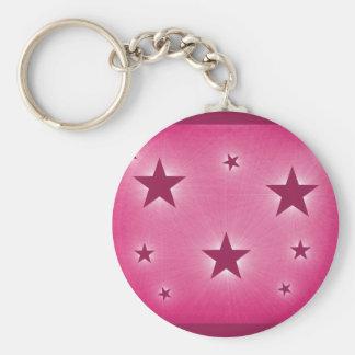 Stars in the Night Sky Keychain, Magenta Basic Round Button Key Ring