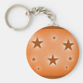 Stars in the Night Sky Keychain, Orange Basic Round Button Key Ring