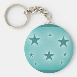 Stars in the Night Sky Keychain, Teal Basic Round Button Key Ring