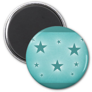 Stars in the Night Sky Magnet, Teal 6 Cm Round Magnet