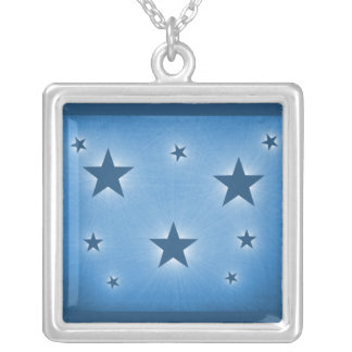 Stars in the Night Sky Necklace, Blue Square Pendant Necklace