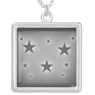 Stars in the Night Sky Necklace, Dark Gray Square Pendant Necklace