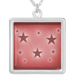 Stars in the Night Sky Necklace, Dark Red Square Pendant Necklace